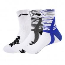 李宁 男运动袜 羽毛球袜 AWSL203 透气舒适 运动棉袜 舒适耐穿