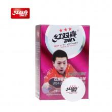 紅雙喜 賽福三星乒乓球40+ 新材料 比賽球大賽用球 白色 6只裝