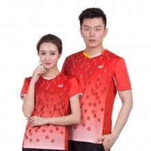尤尼克斯 YONEX 男女羽毛球服 运动T恤 速干面料 110137 210137 红